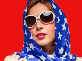 kvinna i amerikanska färger foto