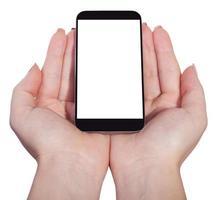 smartphone i kvinnliga händer, isolerad foto
