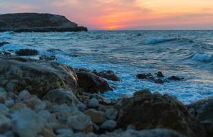 solnedgång till havs