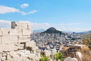 utsikt över lycabettusmonteringen i Athens stad foto