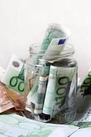 bank med pengar foto