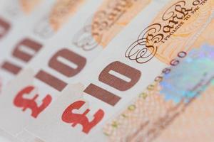 tio pund sedlar (sterling) foto