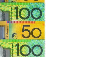 australisk valuta - hundra och femtio dollar sedlar foto