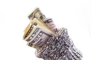 pengar i en strumpa foto