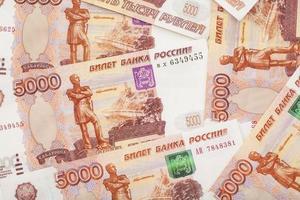 pengar ryska sedlar värdighet fem tusen rubel bakgrund foto