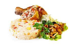 stekt kyckling med ris foto
