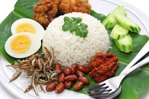 nasi lemak, kokosmjölkris, malaysisk mat foto