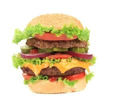 stor aptitretande hamburgare. foto
