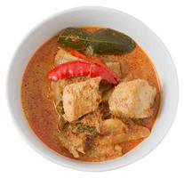 tallrik med röd curry med kokosmjölk