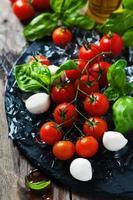 färska tomater, mozzarella och grön basilika foto