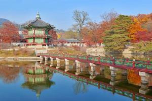 Tempel och palats traditionell arkitektur, Seoul, Sydkorea foto