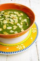 schweizisk chard och potatis grädde soppa hackade amlonds foto