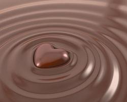 glänsande chokladhjärta foto