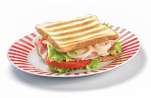 grillad smörgås på vit bakgrund foto