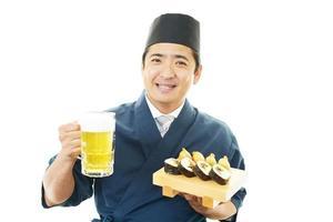 arbetande japansk servitör foto