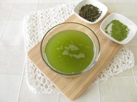 sencha grönt te med matcha foto