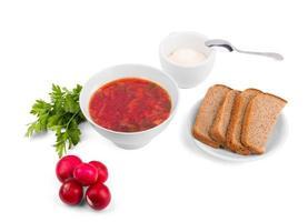 vit skål soppa borsch med persilja rädisa och bröd foto