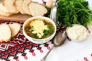 grön sorrelsoppa med ägg i plattan foto