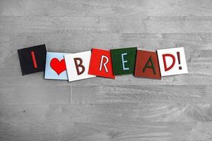 Jag älskar bröd, skyltserier för bakning, matlagning och mat. foto