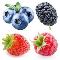 jordgubbar, hallon, blåbär, mullbär isolerad på vitt foto