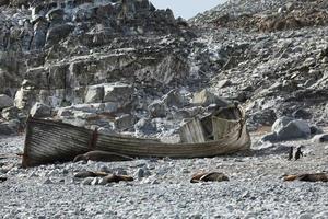 altes ruderboot in der antarktis foto