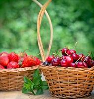 färska organiska körsbär och jordgubbar foto