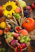 höstskörd - färska frukter i korgen foto