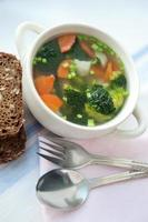 hälsosam soppa med fullkornsbröd foto