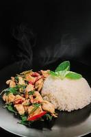 ris toppat med omrört stekt fläsk och basilika foto