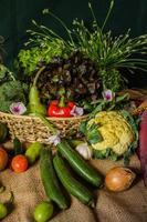 stilleben grönsaker, örter och frukt.