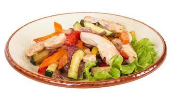 grillade grönsaker och kycklingfilé