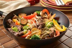 Rör stek i en wok