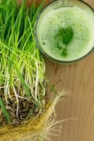 grön organisk vete gräs juice redo att dricka foto
