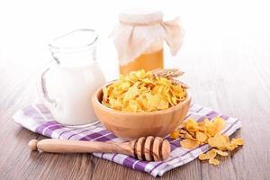cornflakes, mjölk och honung