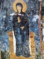 frescoe i mirozhsky kloster, Pskov, Ryssland foto