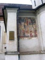 gammal fresco från st. nicholas katedral, brasov