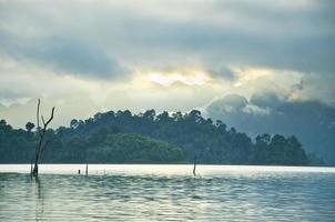 vackra berg och naturliga attraktioner i ratchaprapha dam foto