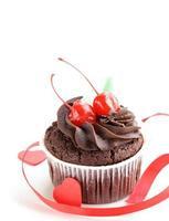 festlig (födelsedag, alla hjärtans dag) chokladmuffin foto