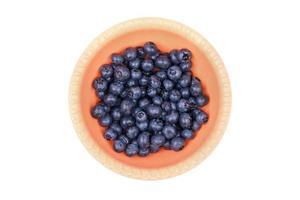blåbär i en plastplatta foto