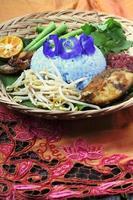 nasi kerabu - malay traditionella rätter foto