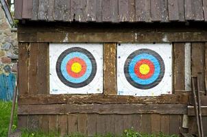 två mål för bågskyttpilar foto