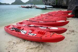 röda kajaker på den tropiska stranden foto