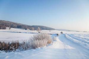 idylliska vinterlandskap i Thuringia