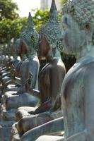 rad med buddha statyer foto