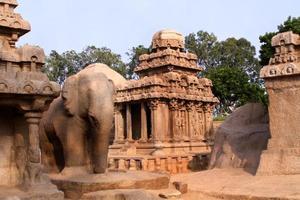 foto av pancha rathatemplet i mammallapuram, Indien