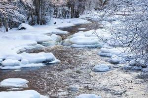 flödande flod på vintern foto