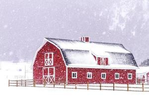röd ladugård i snön foto