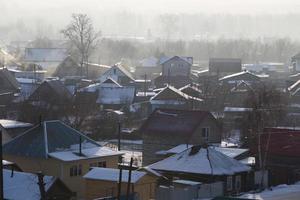 city biysk, russia vintermorgon foto