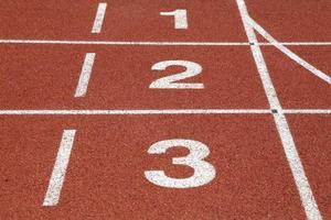 nummer 1 2 och 3 på tävlingsbanan