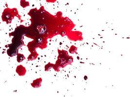 blod droppar på vitt foto